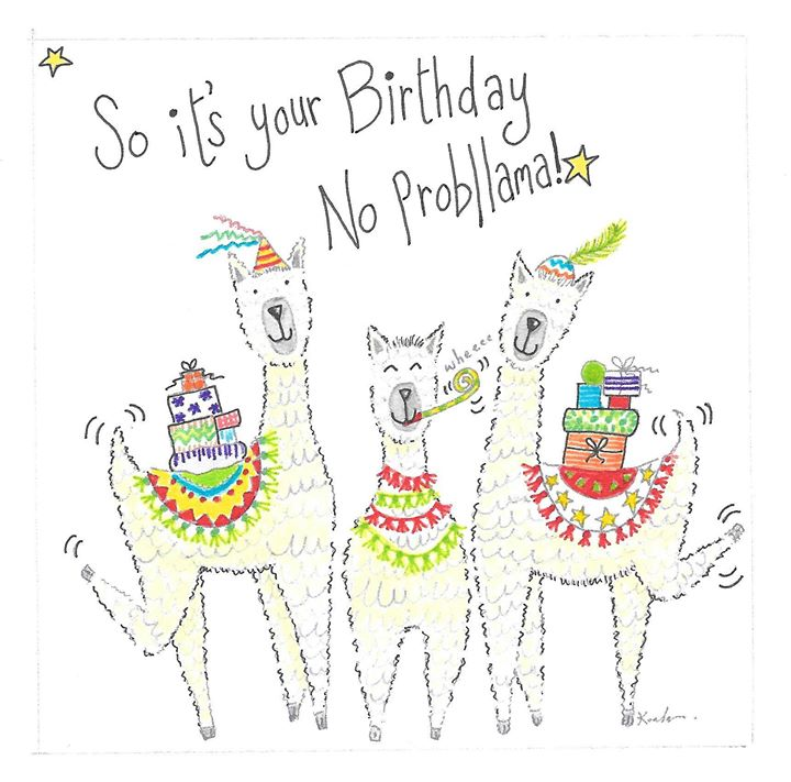 No Probllama Birthday Card with Llamas