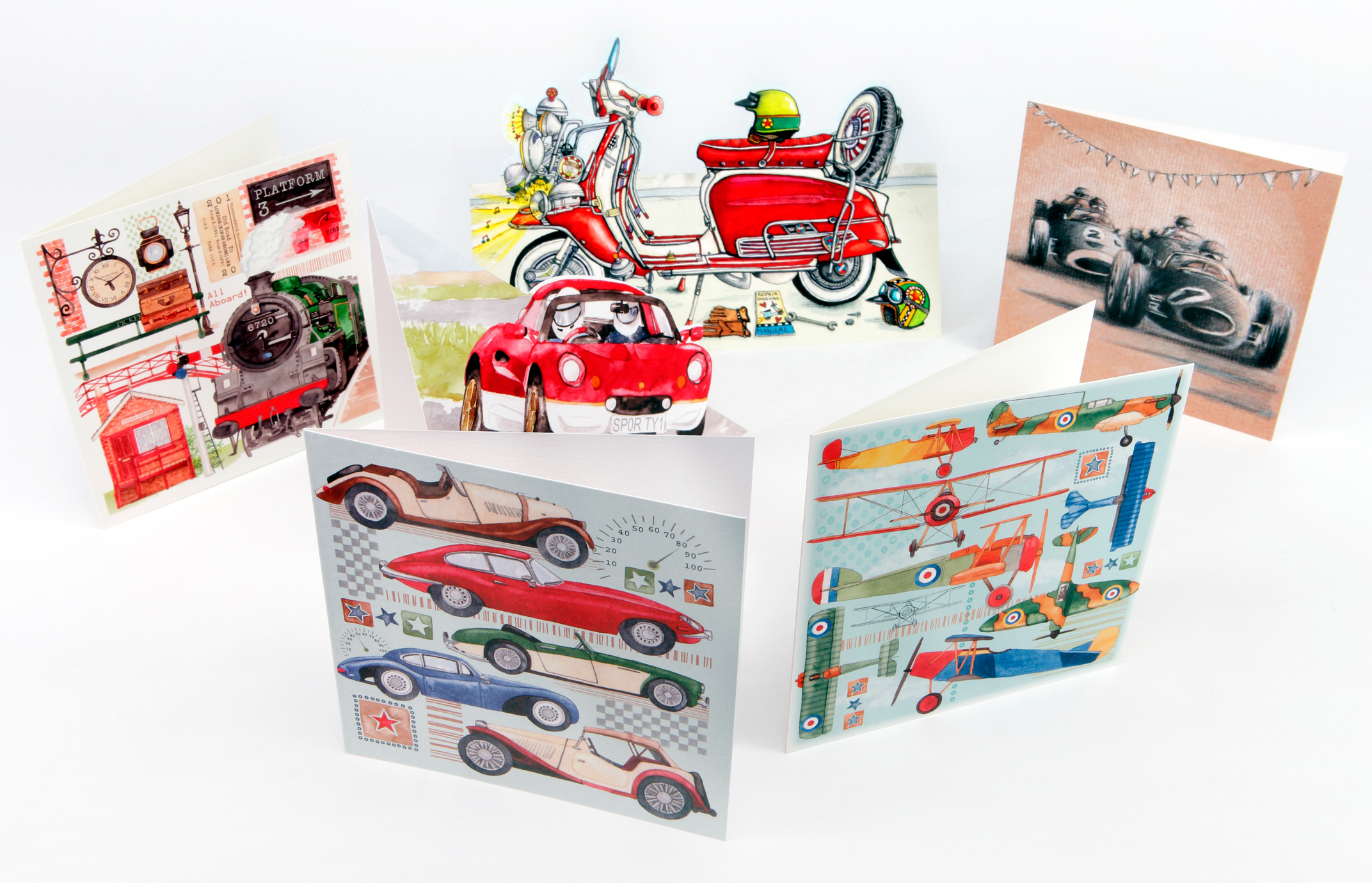 Transport themed greeting cards