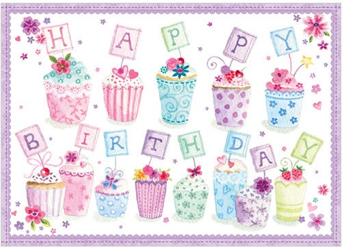 Happy Birthday Cupcakes Card A247