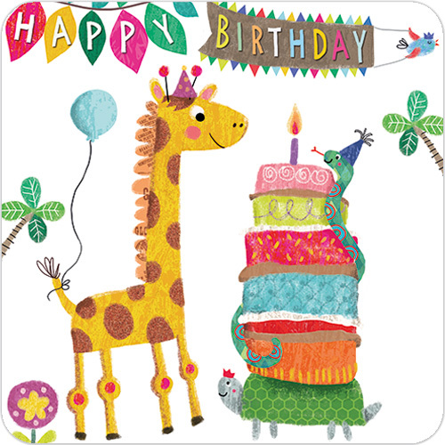 Giraffe 1st Birthday Card