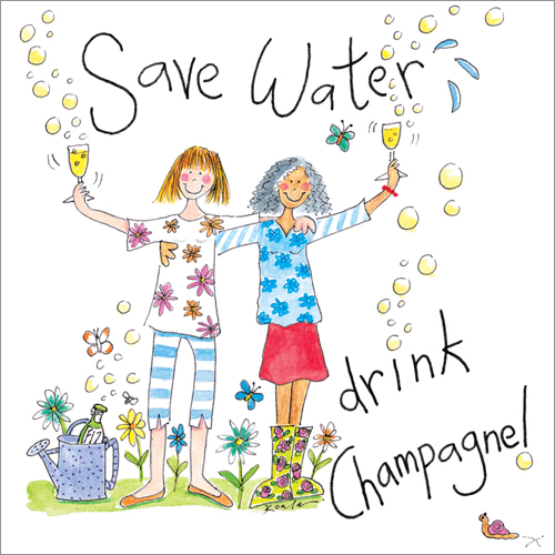 Save Water Drink Champagne Humorous Greeting Cards
