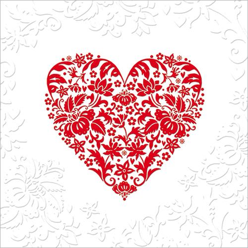 Red Heart Luxury Embossed Greeting Card LOVE