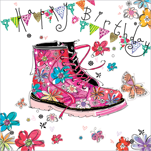 16th Birthday Card FP6017 Pink Boot