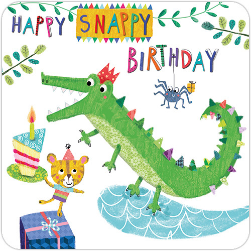 Snappy Crocodile First Birthday Card