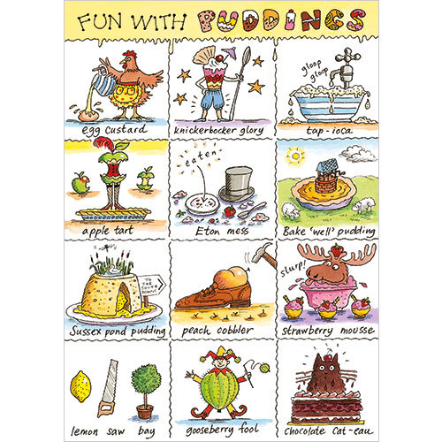 Fun with Puddings Card - spot the chicken?