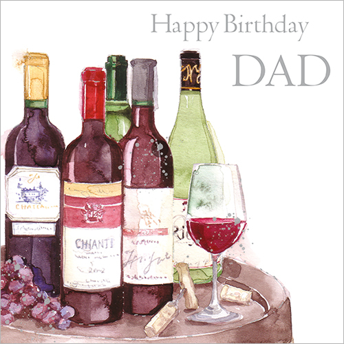 Vintage Wine Dad Birthday Card