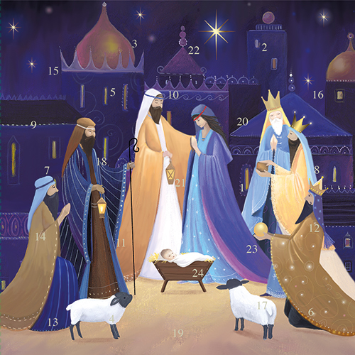 Nativity Advent Calendar Christmas Card