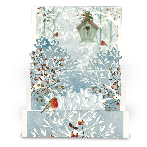Christmas Card Snowy Tree Robins
