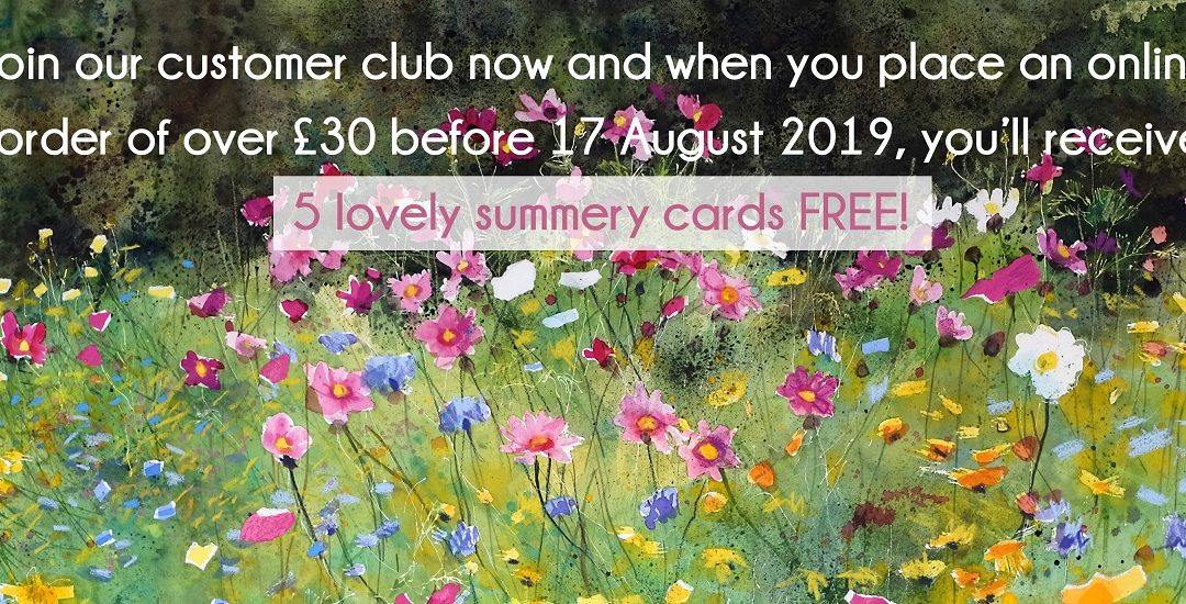 Join UK Flamingo Paperie Customer Club and Receive 5 free summer cards